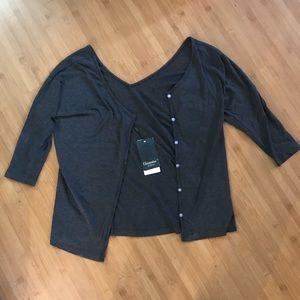 NWT Grey 3/4 sleeve Button Cardigan